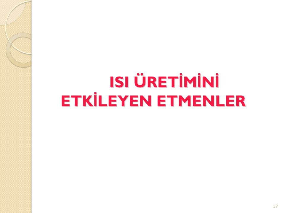 ISI ÜRET İ M İ N İ ETK İ LEYEN ETMENLER 57