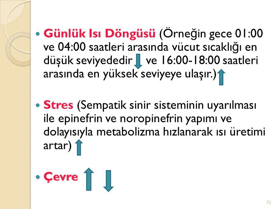 Günlük Isı Döngüsü (Örne ğ in gece 01:00 ve 04:00 saatleri arasında vücut sıcaklı ğ ı en düşük seviyededir ve 16:00-18:00 saatleri arasında en yüksek seviyeye ulaşır.) Stres (Sempatik sinir sisteminin uyarılması ile epinefrin ve noropinefrin yapımı ve dolayısıyla metabolizma hızlanarak ısı üretimi artar) Çevre Çevre 72