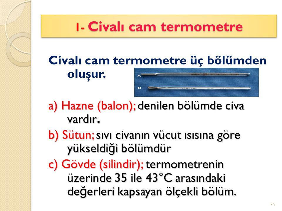 Civalı cam termometre üç bölümden oluşur.a) Hazne (balon); denilen bölümde civa vardır.
