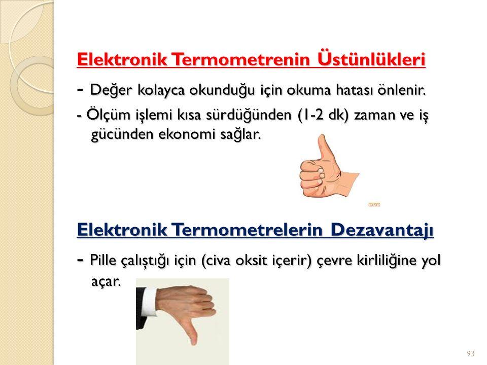 Elektronik Termometrenin Üstünlükleri De ğ er kolayca okundu ğ u için okuma hatası önlenir.