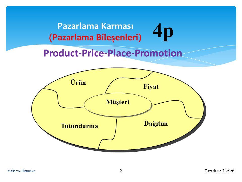 Pazarlama İlkeleri 3 Pazarlama Yöneticisi Gözüyle Pazarlama Bileşenleri 4 P Tüketici Gözüyle Pazarlama Bileşenleri 4 C Product - ÜrünCustomer value - Tüketici için değeri Price - FiyatCost to the customer - Tüketiciye maliyeti Place - DağıtımConvenience - Sağladığı kolaylıklar Promotion - TutundurmaCommunication - Tüketiciyi bilgilendirmesi Mallar ve Hizmetler