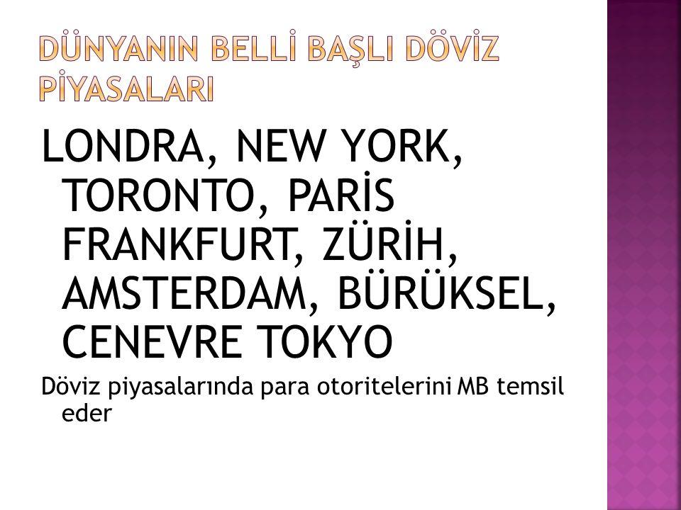LONDRA, NEW YORK, TORONTO, PARİS FRANKFURT, ZÜRİH, AMSTERDAM, BÜRÜKSEL, CENEVRE TOKYO Döviz piyasalarında para otoritelerini MB temsil eder