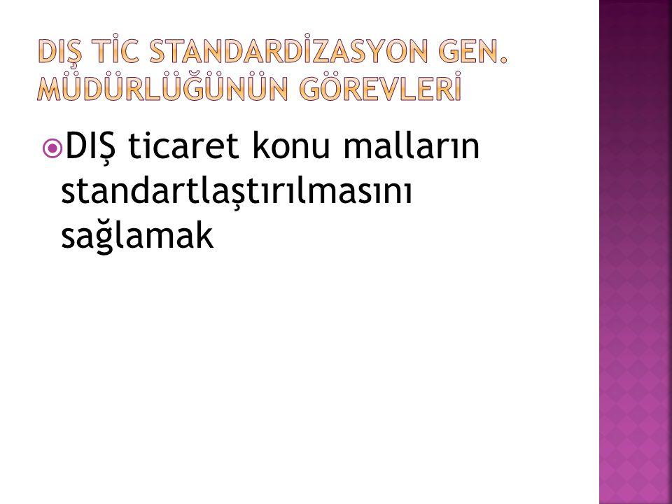  DIŞ ticaret konu malların standartlaştırılmasını sağlamak