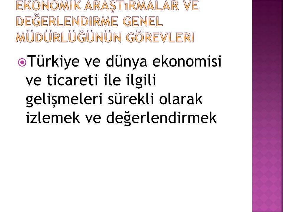  Türkiye ve dünya ekonomisi ve ticareti ile ilgili gelişmeleri sürekli olarak izlemek ve değerlendirmek
