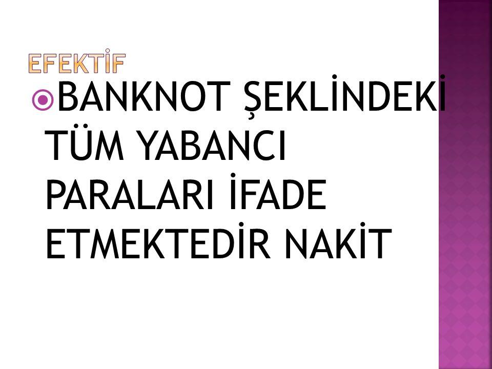  BANKNOT ŞEKLİNDEKİ TÜM YABANCI PARALARI İFADE ETMEKTEDİR NAKİT