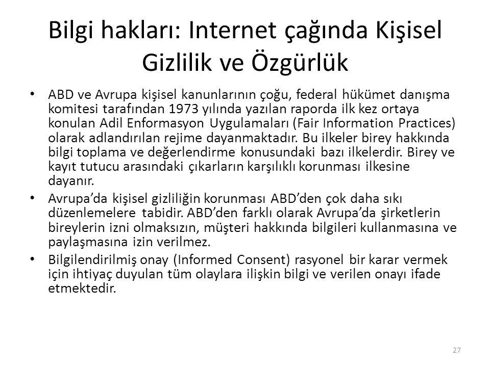 Bilgi hakları: Internet çağında Kişisel Gizlilik ve Özgürlük ABD ve Avrupa kişisel kanunlarının çoğu, federal hükümet danışma komitesi tarafından 1973