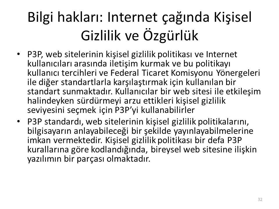 Bilgi hakları: Internet çağında Kişisel Gizlilik ve Özgürlük P3P, web sitelerinin kişisel gizlilik politikası ve Internet kullanıcıları arasında ileti