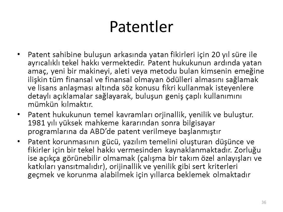Patentler Patent sahibine buluşun arkasında yatan fikirleri için 20 yıl süre ile ayrıcalıklı tekel hakkı vermektedir. Patent hukukunun ardında yatan a