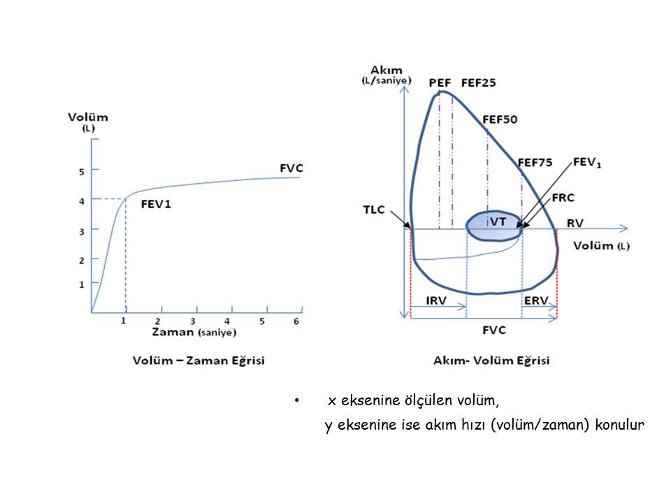 x eksenine ölçülen volüm, y eksenine ise akım hızı (volüm/zaman) konulur