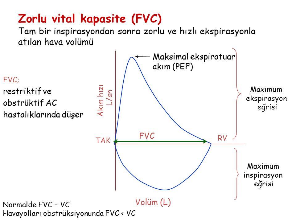 Zorlu vital kapasite (FVC) Tam bir inspirasyondan sonra zorlu ve hızlı ekspirasyonla atılan hava volümü Volüm (L) FVC Maksimal ekspiratuar akım (PEF)