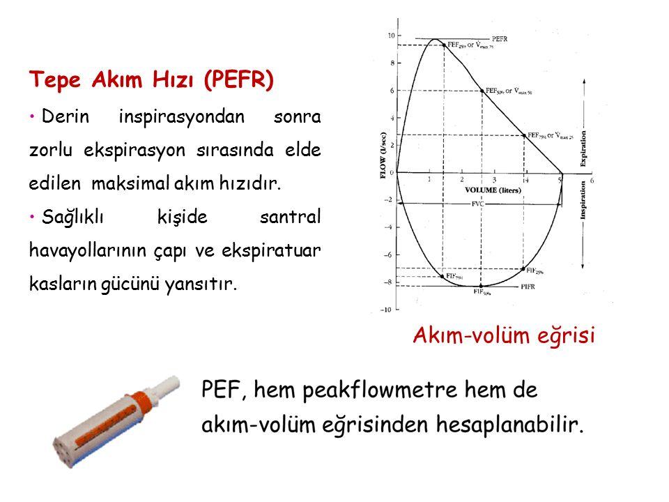 Akım-volüm eğrisi Tepe Akım Hızı (PEFR) Derin inspirasyondan sonra zorlu ekspirasyon sırasında elde edilen maksimal akım hızıdır. Sağlıklı kişide sant