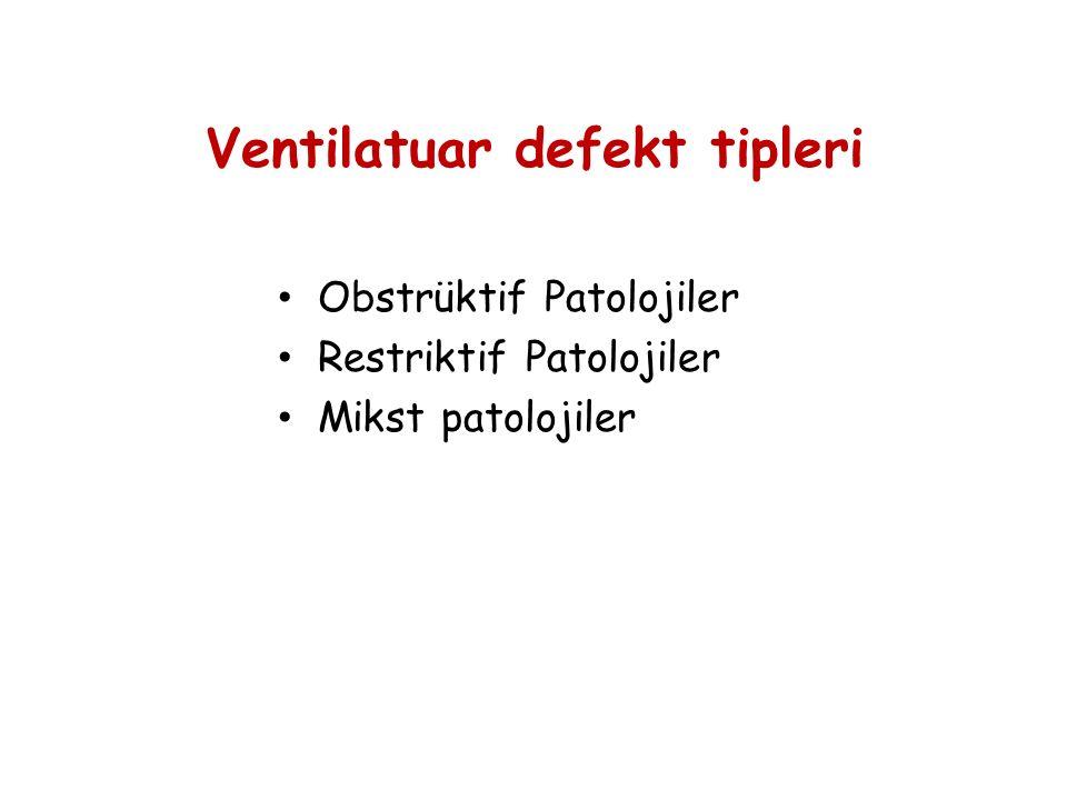 Ventilatuar defekt tipleri Obstrüktif Patolojiler Restriktif Patolojiler Mikst patolojiler