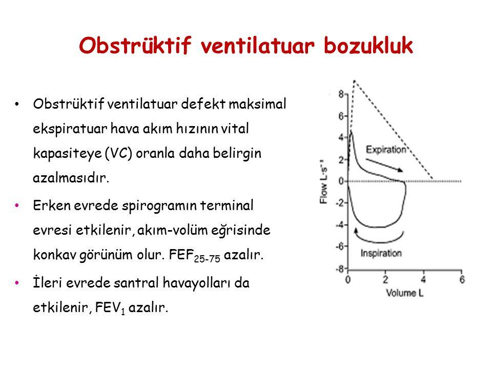 Obstrüktif ventilatuar bozukluk Obstrüktif ventilatuar defekt maksimal ekspiratuar hava akım hızının vital kapasiteye (VC) oranla daha belirgin azalma