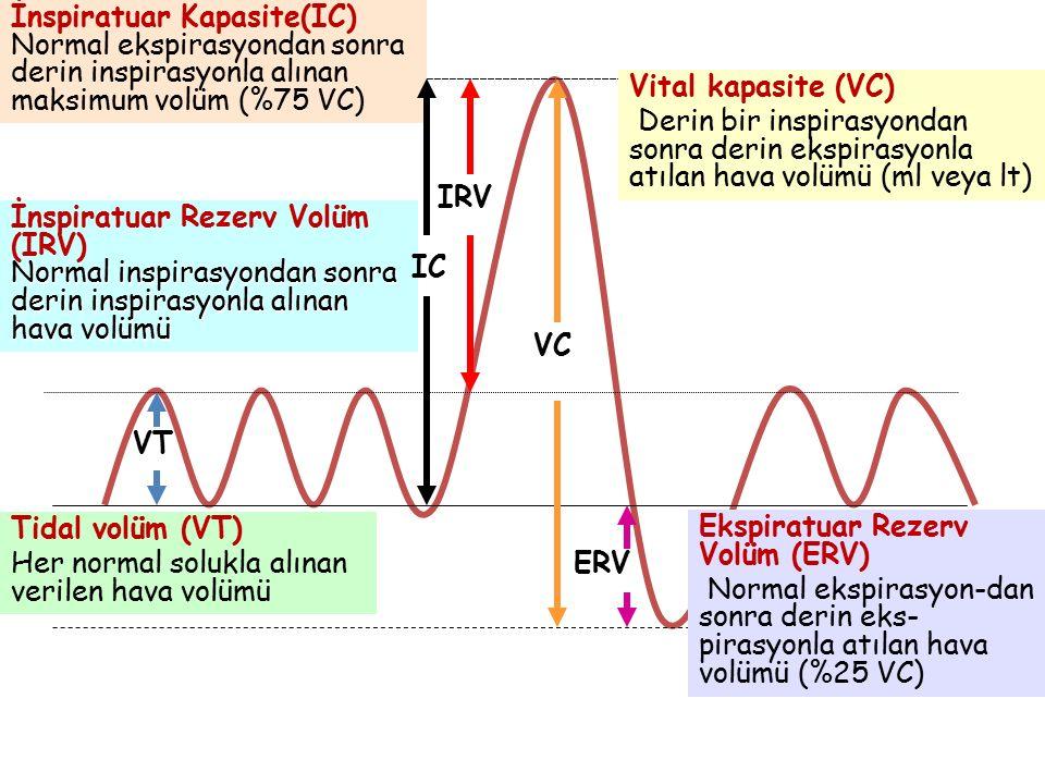 Vital kapasite (VC) Derin bir inspirasyondan sonra derin ekspirasyonla atılan hava volümü (ml veya lt) VC VT Tidal volüm (VT) Her normal solukla alına
