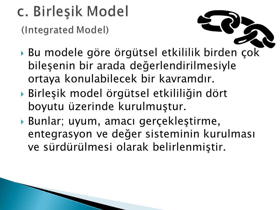 Bu modele göre örgütsel etkililik birden çok bileşenin bir arada değerlendirilmesiyle ortaya konulabilecek bir kavramdır.  Birleşik model örgütsel
