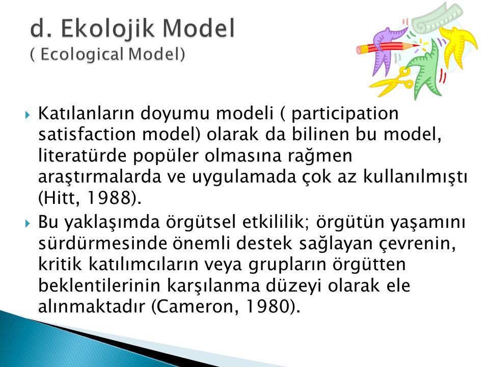  Katılanların doyumu modeli ( participation satisfaction model) olarak da bilinen bu model, literatürde popüler olmasına rağmen araştırmalarda ve uyg