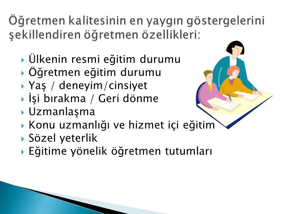  Ülkenin resmi eğitim durumu  Öğretmen eğitim durumu  Yaş / deneyim/cinsiyet  İşi bırakma / Geri dönme  Uzmanlaşma  Konu uzmanlığı ve hizmet içi