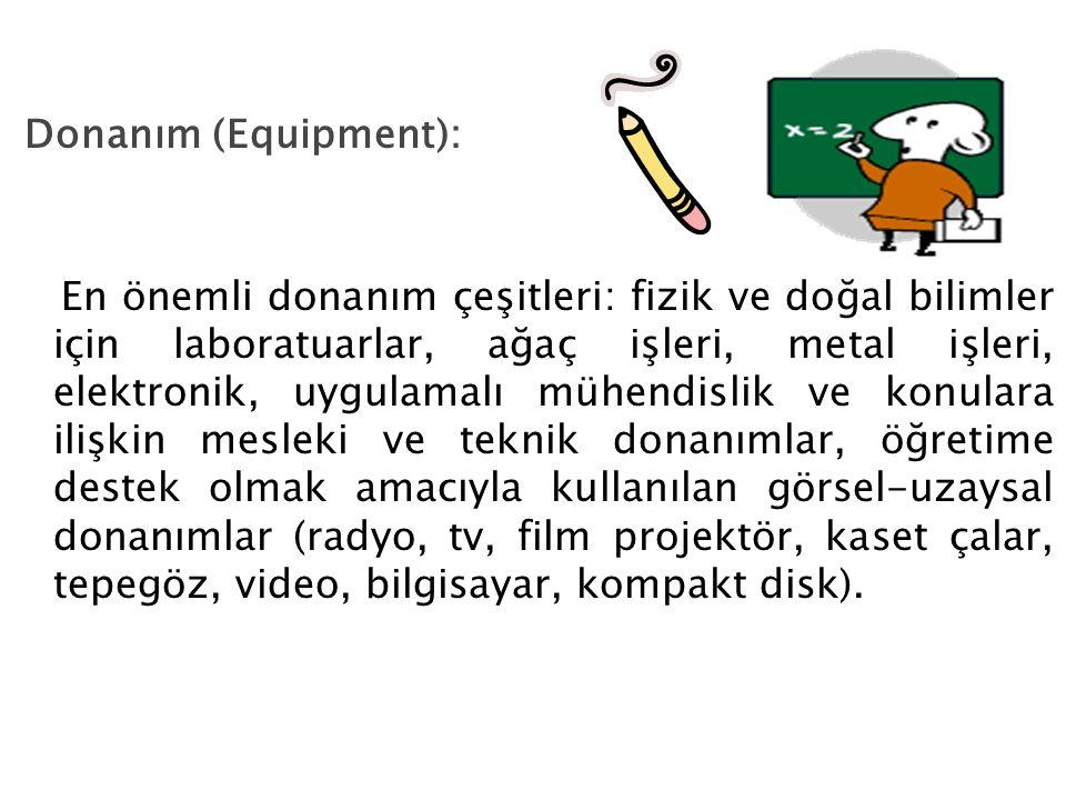 Donanım (Equipment): En önemli donanım çeşitleri: fizik ve doğal bilimler için laboratuarlar, ağaç işleri, metal işleri, elektronik, uygulamalı mühend