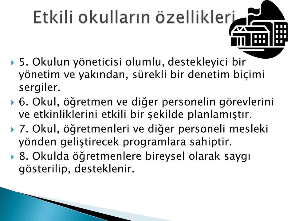 1.Etkili okullar, açık bir şekilde eğitim öğretimle ilgili hedeflerini ortaya koymalıdır, 2.