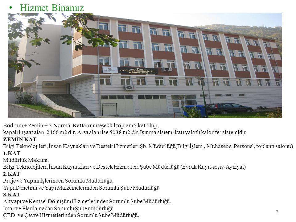Hizmet Binamız Bodrum + Zemin + 3 Normal Kattan müteşekkil toplam 5 kat olup, kapalı inşaat alanı 2466 m2 dir.