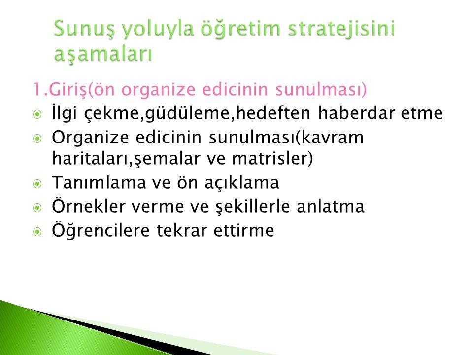 1.Giriş(ön organize edicinin sunulması)  İlgi çekme,güdüleme,hedeften haberdar etme  Organize edicinin sunulması(kavram haritaları,şemalar ve matris
