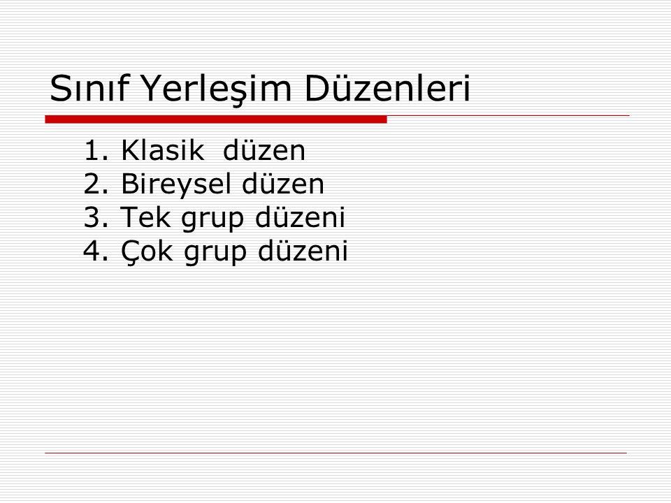 Sınıf Yerleşim Düzenleri 1. Klasik düzen 2. Bireysel düzen 3. Tek grup düzeni 4. Çok grup düzeni