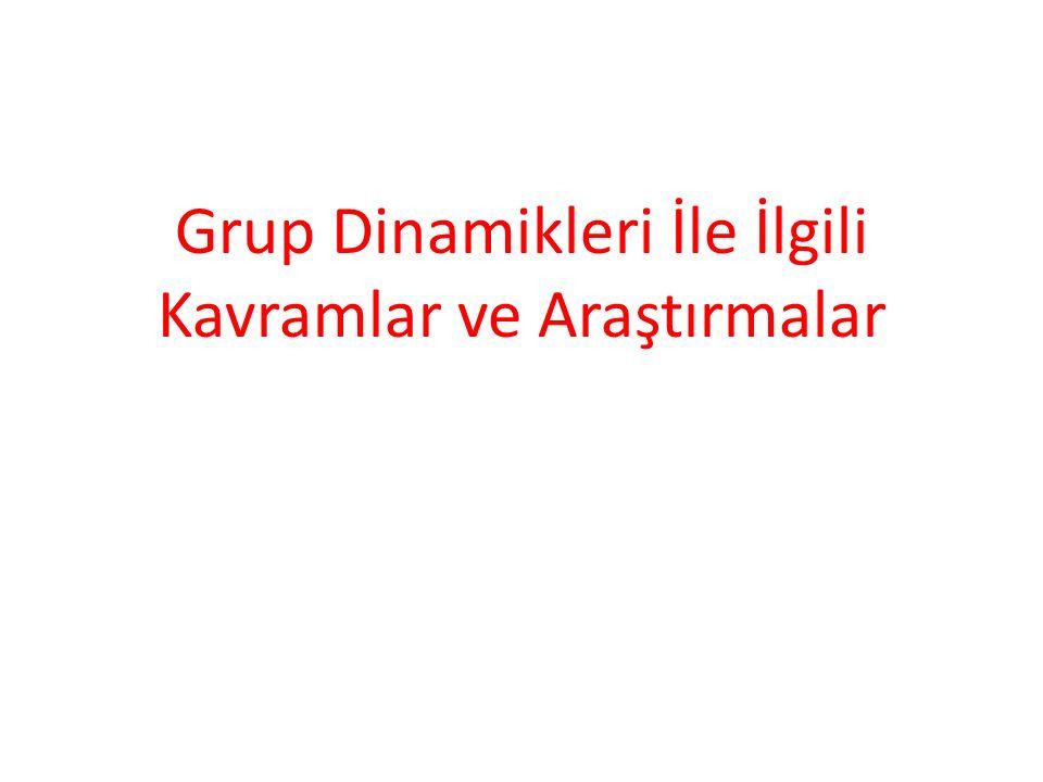 Grup Dinamikleri İle İlgili Kavramlar ve Araştırmalar