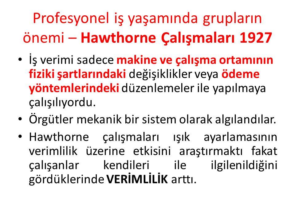 Profesyonel iş yaşamında grupların önemi – Hawthorne Çalışmaları 1927 İş verimi sadece makine ve çalışma ortamının fiziki şartlarındaki değişiklikler