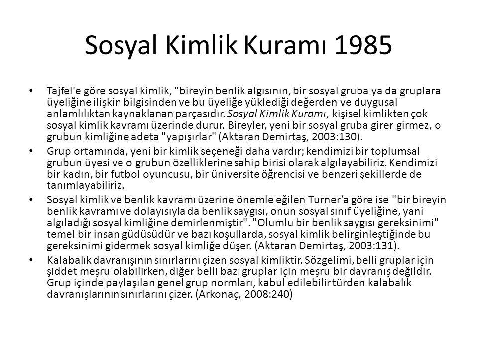Sosyal Kimlik Kuramı 1985 Tajfel'e göre sosyal kimlik,