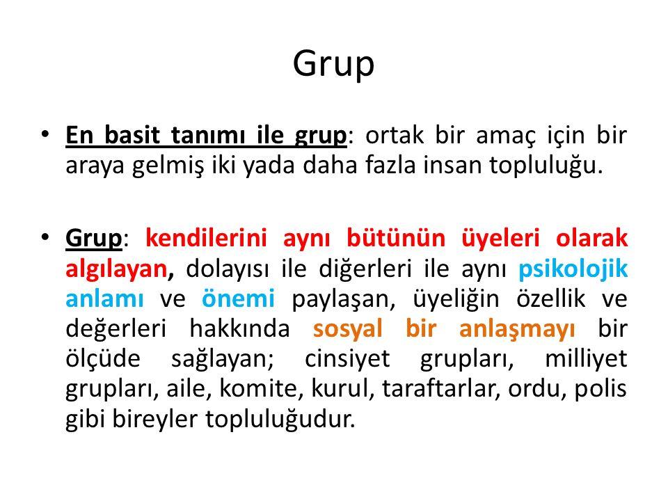 Grup En basit tanımı ile grup: ortak bir amaç için bir araya gelmiş iki yada daha fazla insan topluluğu. Grup: kendilerini aynı bütünün üyeleri olarak