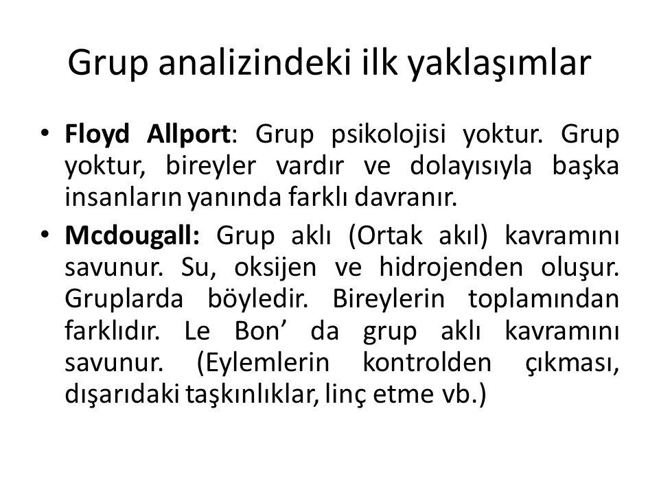 Grup analizindeki ilk yaklaşımlar Floyd Allport: Grup psikolojisi yoktur. Grup yoktur, bireyler vardır ve dolayısıyla başka insanların yanında farklı
