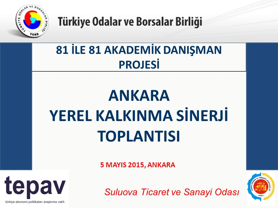 Türkiye Odalar ve Borsalar Birliği 81 İLE 81 AKADEMİK DANIŞMAN PROJESİ 5 MAYIS 2015, ANKARA ANKARA YEREL KALKINMA SİNERJİ TOPLANTISI Suluova Ticaret ve Sanayi Odası