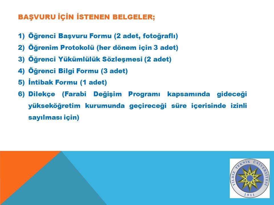 BAŞVURU İÇİN İSTENEN BELGELER; 1)Öğrenci Başvuru Formu (2 adet, fotoğraflı) 2)Öğrenim Protokolü (her dönem için 3 adet) 3)Öğrenci Yükümlülük Sözleşmesi (2 adet) 4)Öğrenci Bilgi Formu (3 adet) 5)İntibak Formu (1 adet) 6)Dilekçe (Farabi Değişim Programı kapsamında gideceği yükseköğretim kurumunda geçireceği süre içerisinde izinli sayılması için)