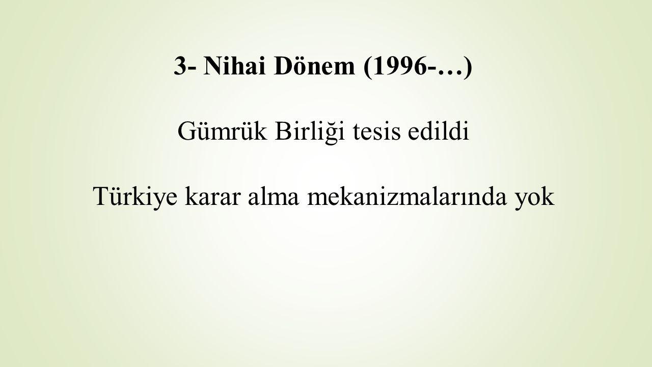 3- Nihai Dönem (1996-…) Gümrük Birliği tesis edildi Türkiye karar alma mekanizmalarında yok
