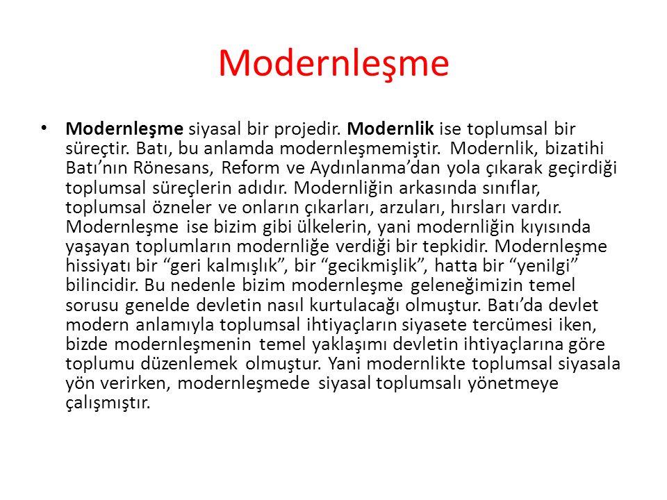 Modernleşme Modernleşme siyasal bir projedir. Modernlik ise toplumsal bir süreçtir. Batı, bu anlamda modernleşmemiştir. Modernlik, bizatihi Batı'nın R