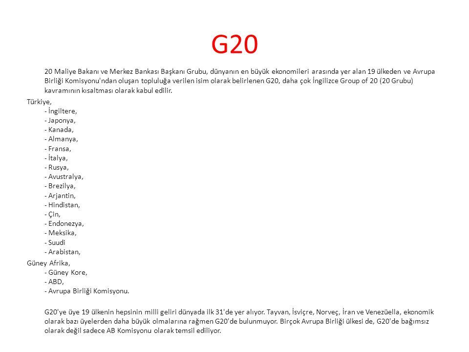 G20 20 Maliye Bakanı ve Merkez Bankası Başkanı Grubu, dünyanın en büyük ekonomileri arasında yer alan 19 ülkeden ve Avrupa Birliği Komisyonu'ndan oluş