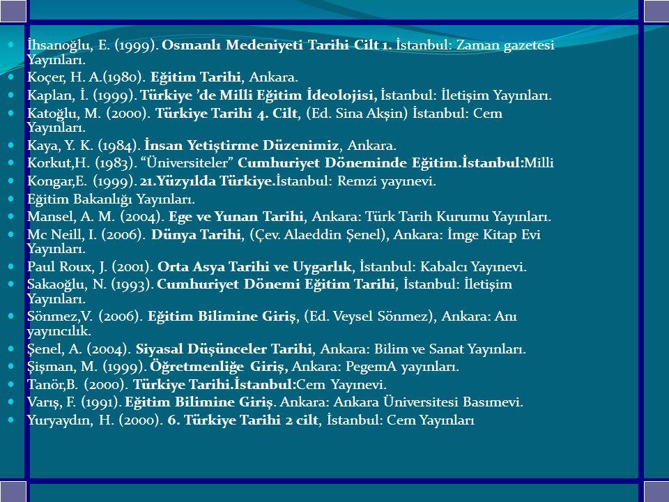 İhsanoğlu, E.(1999). Osmanlı Medeniyeti Tarihi Cilt 1.