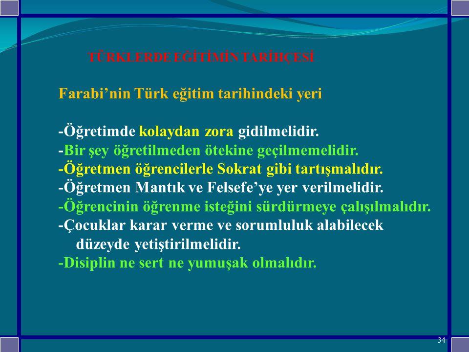 TÜRKLERDE EĞİTİMİN TARİHÇESİ Farabi'nin Türk eğitim tarihindeki yeri -Öğretimde kolaydan zora gidilmelidir.