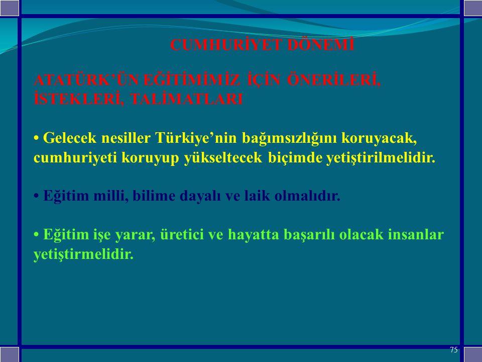 ATATÜRK'ÜN EĞİTİMİMİZ İÇİN ÖNERİLERİ, İSTEKLERİ, TALİMATLARI Gelecek nesiller Türkiye'nin bağımsızlığını koruyacak, cumhuriyeti koruyup yükseltecek biçimde yetiştirilmelidir.