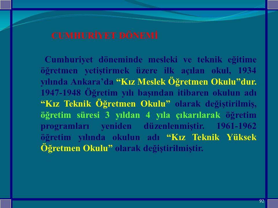 Cumhuriyet döneminde mesleki ve teknik eğitime öğretmen yetiştirmek üzere ilk açılan okul, 1934 yılında Ankara'da Kız Meslek Öğretmen Okulu dur.