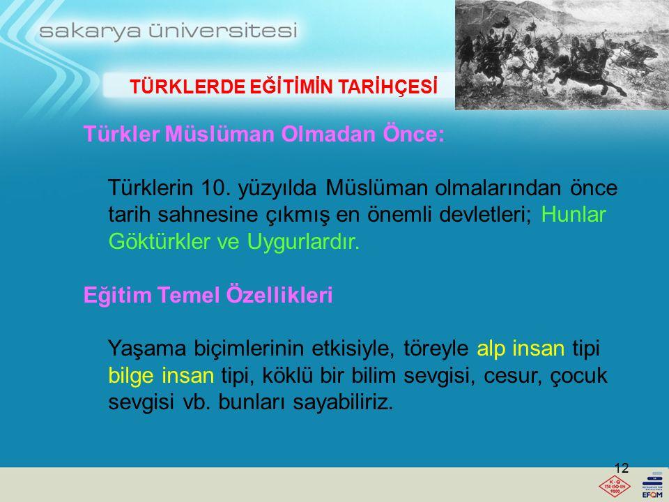 Eğitim, çok geniş bir kavramdır. Buna bağlı olarak Türk eğitim tarihinin konuları da çok geniştir. Böyle bir dersin bulunması, eğitim geçmişimizin, uz
