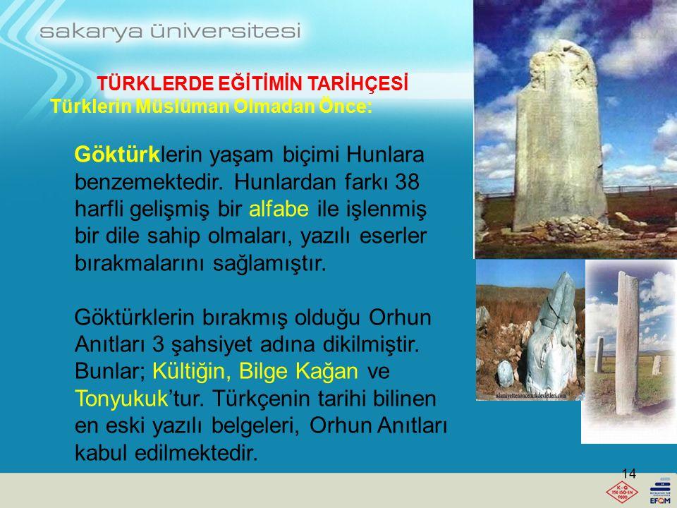 TÜRKLERDE EĞİTİMİN TARİHÇESİ Türkler Müslüman Olmadan Önce: Hunların eğitim anlayışını, yaşayış biçimleri şekillendirir. Atlı göçebeden meydana gelir.