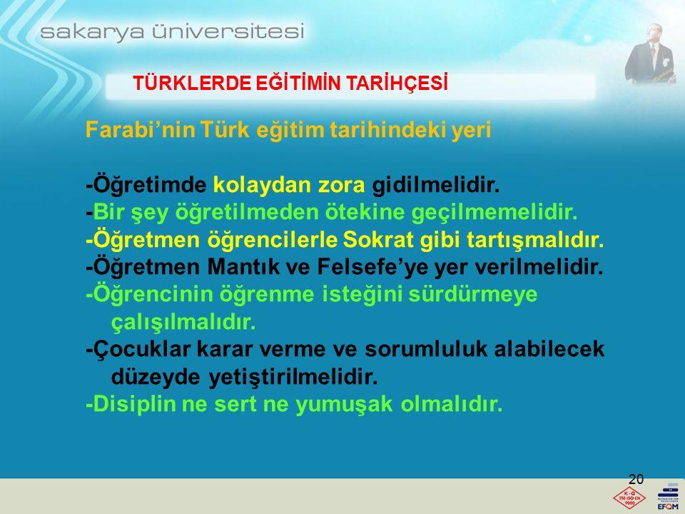 TÜRKLERDE EĞİTİMİN TARİHÇESİ Farabi'nin Türk eğitim tarihindeki yeri nedir? -Aristo'dan sonra İKİNCİ ÖĞRETMEN denir. -Farabi paraya şöhrete önem verme