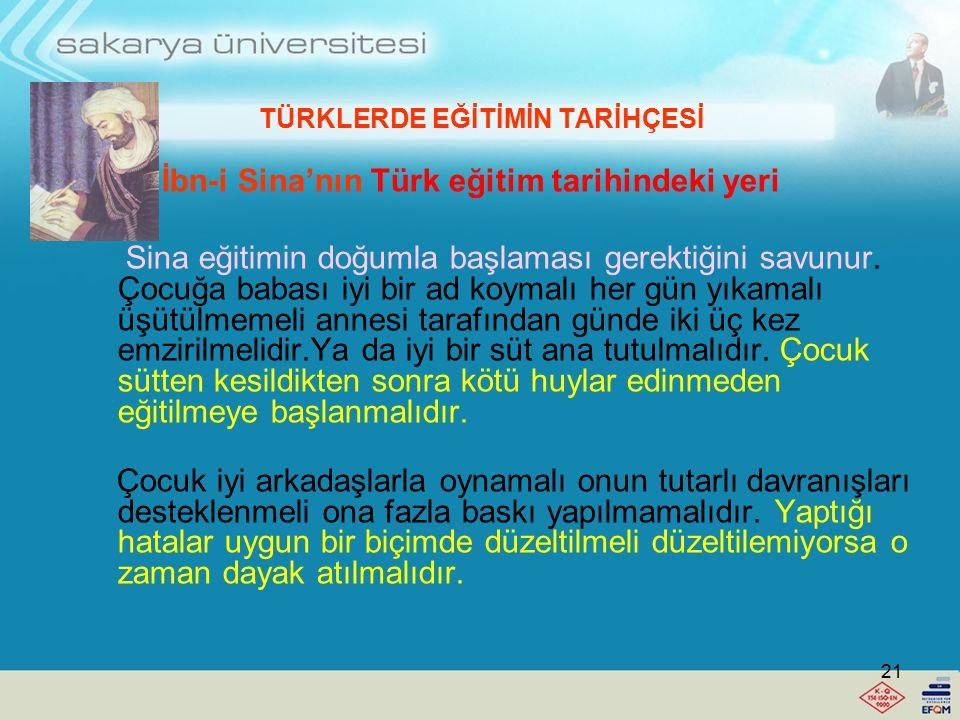 TÜRKLERDE EĞİTİMİN TARİHÇESİ Farabi'nin Türk eğitim tarihindeki yeri -Öğretimde kolaydan zora gidilmelidir. -Bir şey öğretilmeden ötekine geçilmemelid