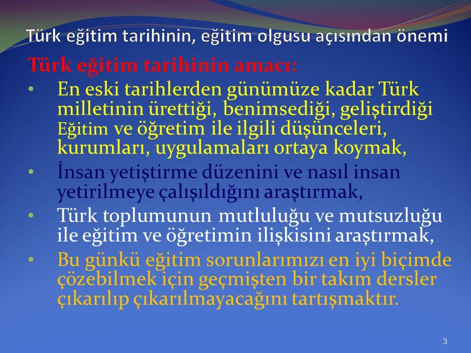 KAYNAKLAR Yahya Akyüz, Türk Eğitim Tarihi, Anı yayınları Prof. Dr. Ali Güler, Eğitimin Temelleri, (Tarihi, Sosyal, Felsefi), Punto Tasarım 2