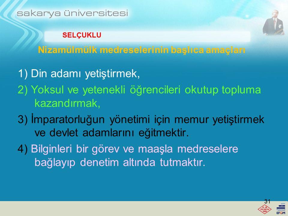 """Büyük Selçuklu İmparatorluğu Veziri Nizamülmülk'ün 1068 de Bağdat'ta açmış olduğu """"Nizamiye Medresesi"""" Türk yükseköğretim tarihinde yükseköğretim kuru"""