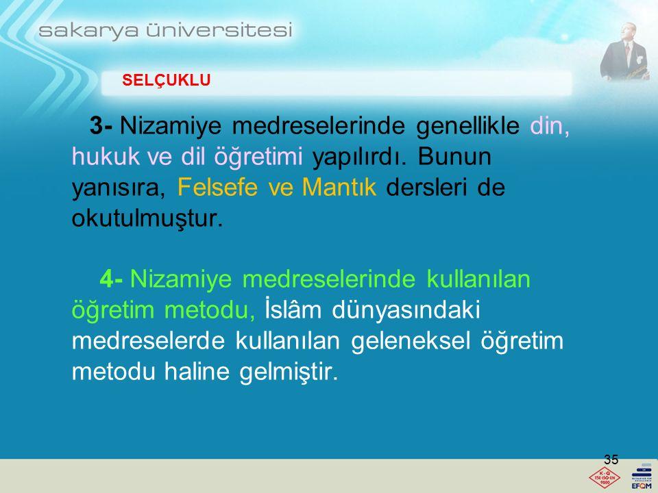 Nizamiye Medreselerinin Türk ve İslâm Eğitim Tarihindeki Yeri ve Önemi: 1- Medreseler ile camiler: medreseler, mimarî açıdan camiden tamamen ayrı bir