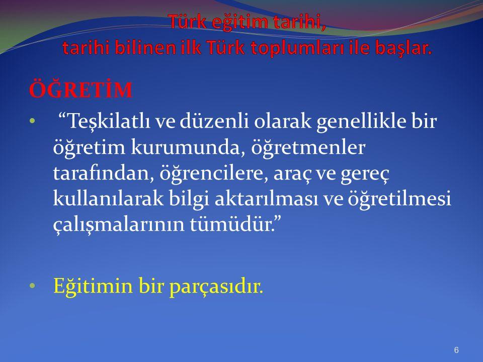 Türk eğitim tarihi, genel Türk tarihi içerisinde yer alan, eğitimle ilgili bir tarih bilimidir. Bir milletin eğitim tarihi, o milletin öğretiminin ve