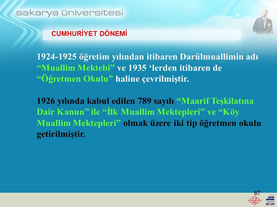 İlköğretim (İlkokul Öğretmeni) Yetiştirme -Muallim Mektebi (1924-1925) İlk Muallim Mektebi-Köy Muallim Mektebi (1926) -Öğretmen Okulu (1935) -Eğitmen (1937) -Köy Enstitüleri (1940) -İlköğretmen Okulu (1954) -Eğitim Enstitüsü (1974) -Eğitim Yüksek Okulu (1980-1981) -Eğitim Fakültesi (1992) CUMHURİYET DÖNEMİ 66