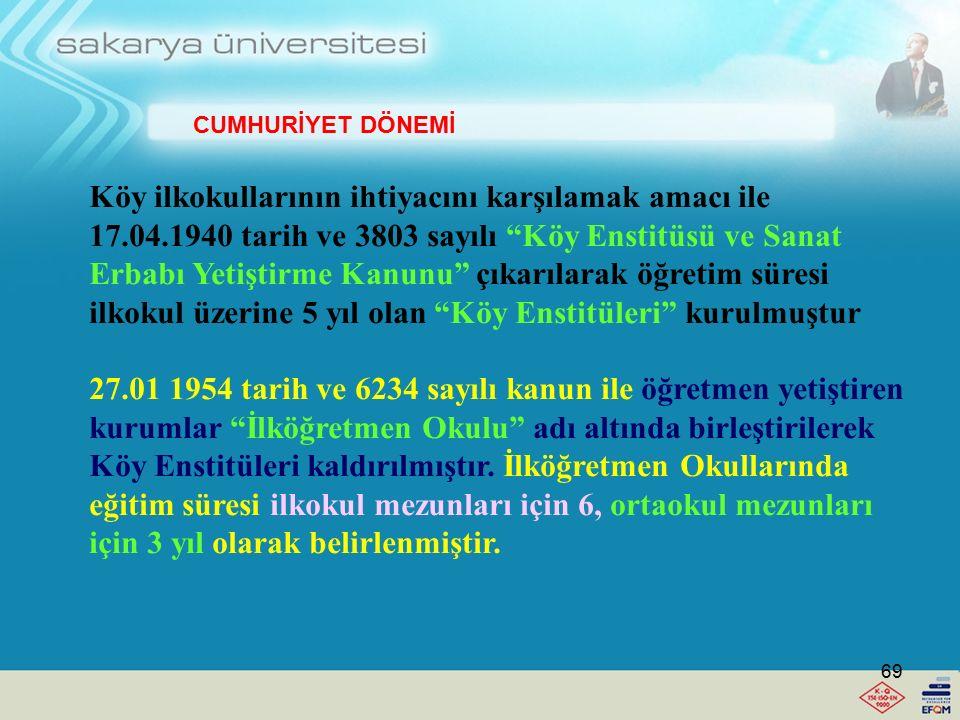 """11.6.1937 tarih ve 3238 sayılı kanunla köylerin eğitim işlerinin yürütülmesi ve köylülere rehberlik edilmesi amacıyla """"eğitmen"""" yetiştirilmiştir. Bu k"""